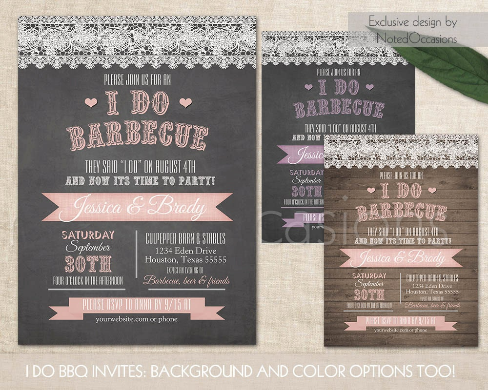 Backyard Bbq Wedding Invitations