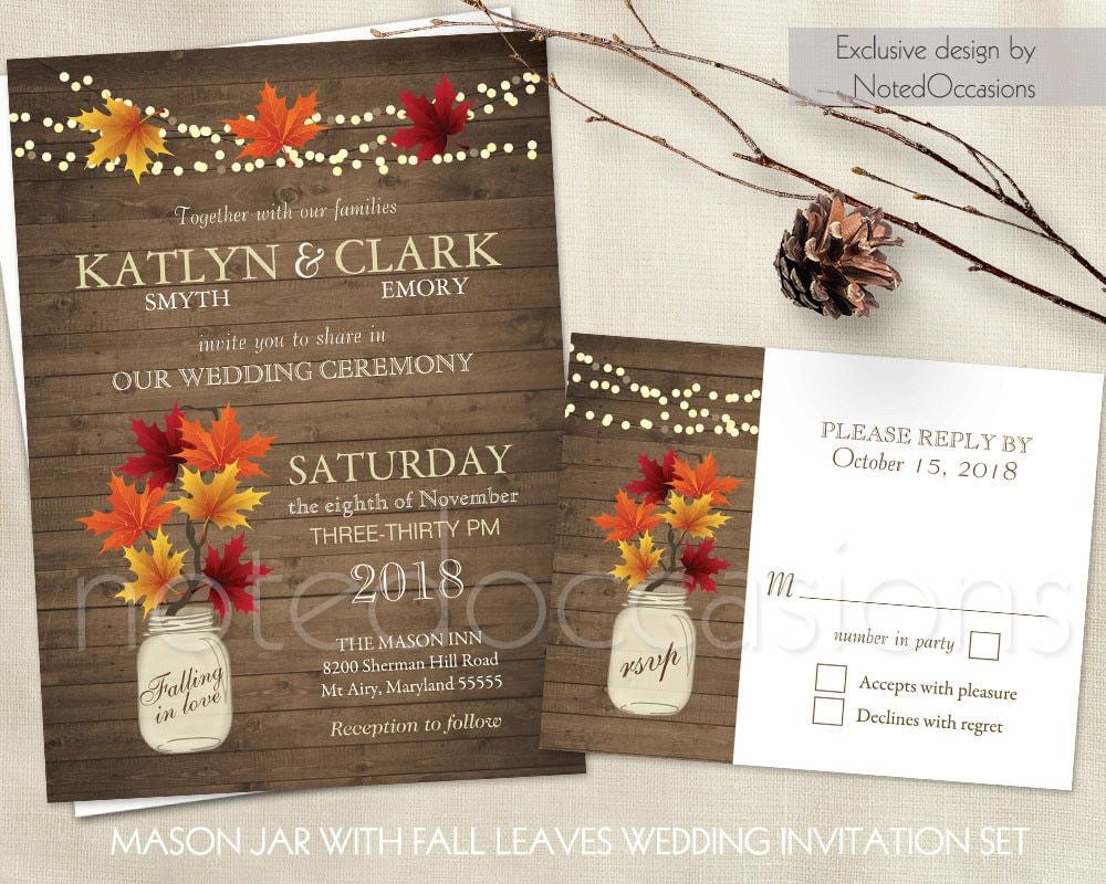 Rustic Fall Wedding Invitations Set Mason Jar Country Wedding