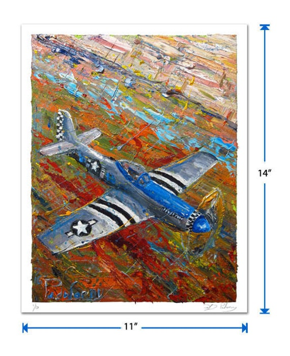 Original signed Print 14 by 11 in. / original signed print of oil painting aviation plane pilot art history military