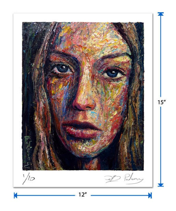 Original signed Print 15 by 12 in. /  original signed print of oil painting art modern abstract girl portrait