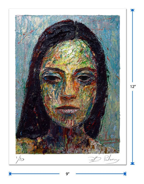 Original signed Print 12 by 9 in. / original print of oil painting folk art outsider portrait expressionism gallery