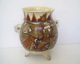 Vintage Mexican pottery/ round footed painted pot/tribal
