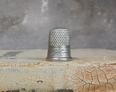Vintage Simon Brothers Thimble Size 8 Nickel Silver SBC USA Hallmark Antique Collectible Sewing Needlework Tool Assemblage Jewelry Supplies