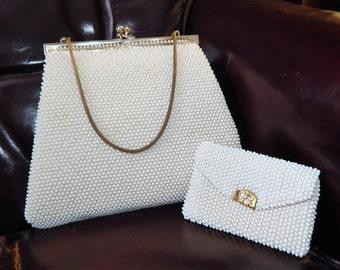Vintage 50s LUMERED Frame Kisslock~Bag and Coin purse~Petite Bead~Corde Caviar Bead~Handbag Ivory Color Mid Century