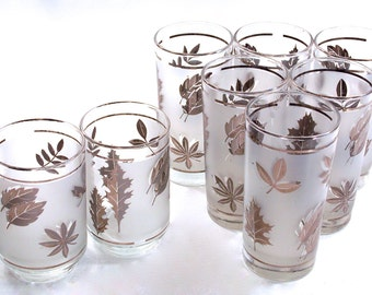 Libbey Silver Foliage Platinum Leaf Glassware, Everyday Crystal, Vintage Barware, Cocktail Glasses, Mad Men, Mid Century Mod