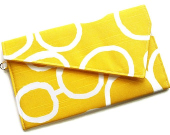 Envelope Fold Over Clutch Purse Bridesmaid Clutch Wedding Clutch Yellow and White Freehand Circles