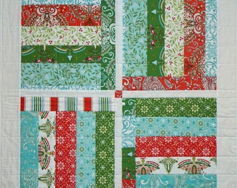 Four Block Stripe Wall Quilt, 4986-0, christmas wall hanging, christmas table quilt