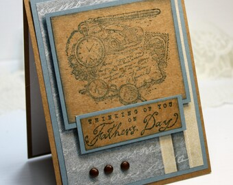 "Father's Day Card - Handmade Greeting Card - 3D Card - 4.25 x 5.5"" Thinking of You on Father's Day Stampin Up Masculine  OOAK"