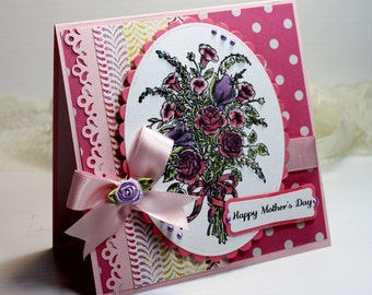 "Mother's Day Card- Handmade Card Greeting Card 5.25 x 5.25"" Happy Mother's Day Stampin Up Flowers Bouquet  Blank Stationery 3D Card - OOAK"