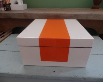 Mid Century Style Color Block High Gloss Lacquer Box