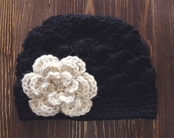 Girls Hat, Black and Oatmeal Girl Hat, Newborn Girl Hat, Crochet Baby Hat, Crochet Girls Hat, Baby Girl Hat, Baby Hat for Girls