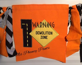 Construction Birthday Any Number Banner High Chair Or Photo Prop Road Sign