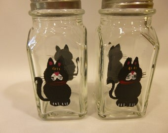 Hand Painted Salt and Pepper Shakers Black Cat Kitty Cats