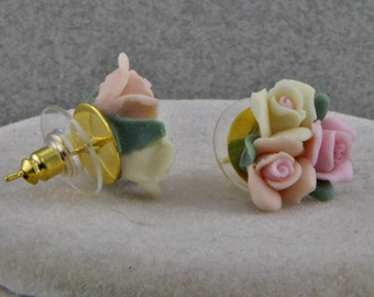 Handmade Earrings with Ceramic Roses Pink and Yellow on Gold Posts 1/2 inch diameter