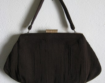 1940s Brown Corde Purse Handbag Pocket Book