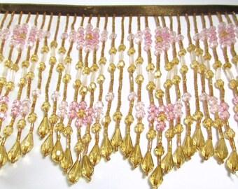 Earthen Innocence Pink, Vintage Pink, Light Brown 6 inch Long Beaded Fringe Decorator Trim
