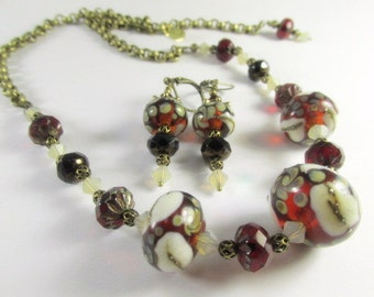 Lampwork Necklace and Earring Set in Marsala Red with Czech Beads, Swarovski Crystal Accents with adjustable closure in Brass