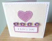 I love you quilled flower and applique heart card