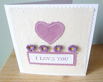 I love you quilled flower and applique heart card valentine anniversary