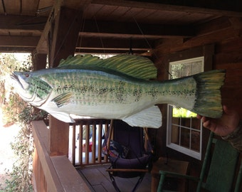 """Large Mouth Bass MOBILE 36"""" realistic wooden bass chainsaw carving full bodied 3D home decor lake fish with a stainless steal hanger"""
