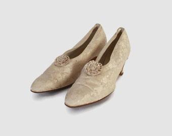 Vintage Victorian HEELS / 1900s Ivory SILK Brocade Wedding Shoes Slippers 6
