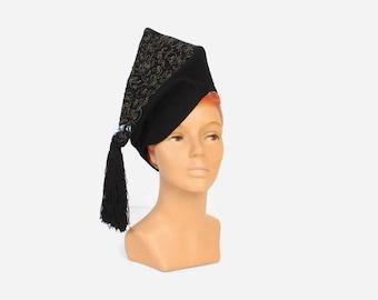 Vintage 40s Peaked HAT / Insane 1940s Metallic Embroidered Black Felt Tall Avant Garde Tassel Hat