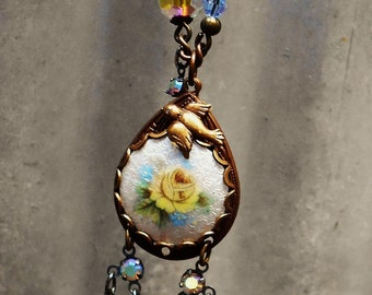 SALE Vintage assemblage necklace rose guilloche vintage rosary beads yellow blue crystal rhinestone one-of-a-kind Triolette