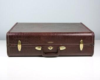 Large Vintage Samsonite Suitcase / Brown Faux Alligator Luggage Suit Case / 1940s Suitcase / 1950s Suitcase / Samsonite Luggage