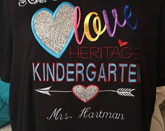 Teacher t shirt personalized with school and grade level. Shirt for teachers for back to school-embroidery- love teacher shirt with sparkle