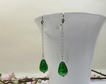 Murano Emerald Drops Earrings with 925 Sterling Silver, 925 Sterling Chain Earrings w Emerald Murano Venetian Drops, Green Drops Earrings