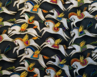 Fabric Laurel Burch Mythical Horses Gilded Black Hard to Find Out of Print 100% Cotton Fat Quarter FQ Eustheelf #4 BT