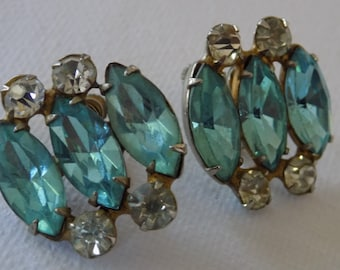 Vintage earrings,aquamarine and clear marquise crystals retro screw back earrings,antique jewelry