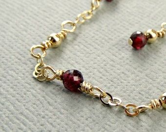 Garnet Gold Anklet, Red Gemstone Ankle Chain, Dainty Ankle Bracelet, January Birthstone