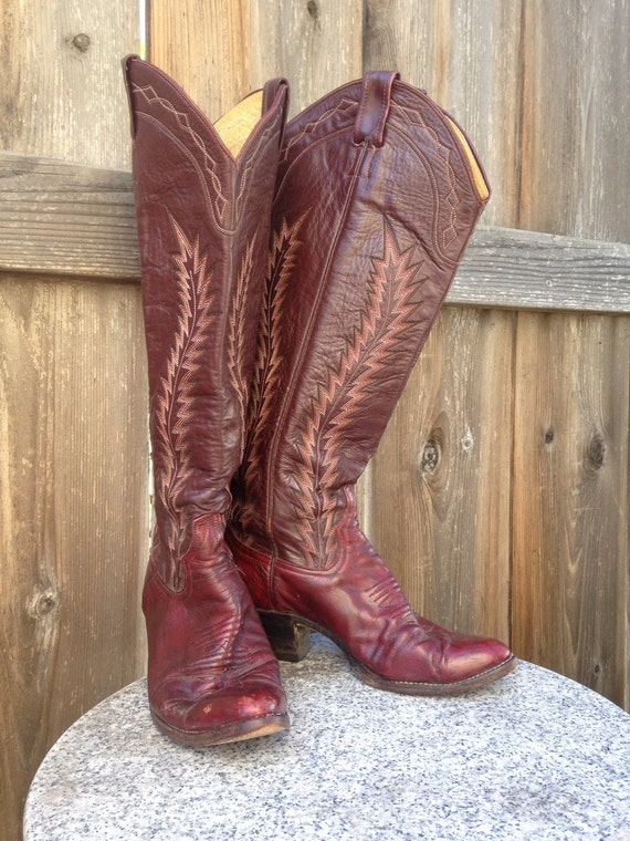 Vintage Larry Mahan Cowboy Boots Tall Maroon Plum Leather
