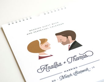 Wedding Guest Book Alternative, Personalized Wedding Guest Calendar, Perpetual Calendar, Large Size // WEDDED BLISS