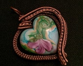 Wire Wrapped Glass Heart Pendant