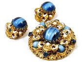 RESERVED - Vintage West German Demi Parure Blue Art Glass Filigree Brooch & Earrings Set 1950s Victorian Revival