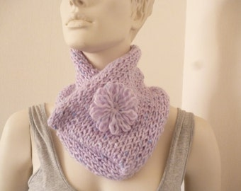 Mohair Scarf, Womens Cowl, Winter Cowl, Knit Circle Scarf, Lilac Cowl, Knit Scarflette, Knit Cowl