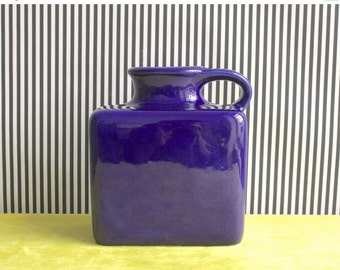 Summersale RARE Mid Century Modern West German Studio Pottery Handled Vase in Deep Electric Blue by Gräflich Ortenburg