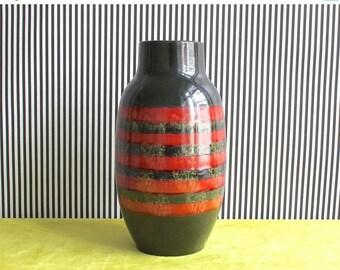 Summersale Vintage West German Pottery Striped Vase