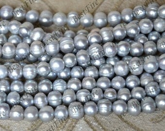 8-9mm grey Baroque cultured pearl beads,Baroque natural pearls, Freshwater Cultured pearl loose beads