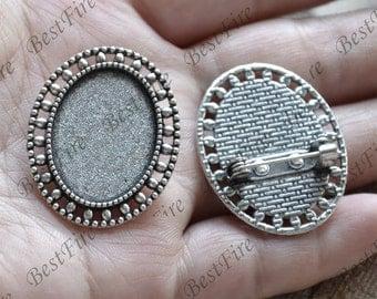 4 pcs Antique silver filigree Luster oval  (base 18x25mm ) Flower Brooches ,flower Brooch Brooch Back Base, Bezel Setting Match