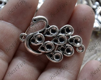 10 PCS Of 22x31mm Antique silver swan Connector findings,metal finding,pendant beads,two holes Charms