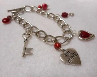 Charm Bracelet, Valentine Bracelet, Valentine Jewelry, Heart Bracelet, Heart Jewelry, Women's Charm Bracelet