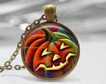 Halloween Necklace GlassTile Necklace Black Necklace Glass Tile Jewelry Halloween Jewelry Pumpkin Jewelry Holiday Jewelry Black Jewelry
