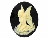 Fairy cameo Resin Cameo Black Ivory cabochon loose nymph cameo gothic lolita 40x30mm cameo jewelry supply 898x