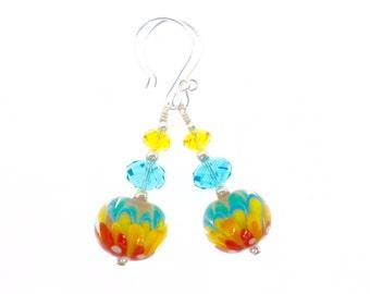 Floral Lampwork Earrings, Yellow Aqua Blue Orange Earrings, Unique Glass Bead Earrings, Flower Dangle Drop Earrings, Lampwork Jewelry