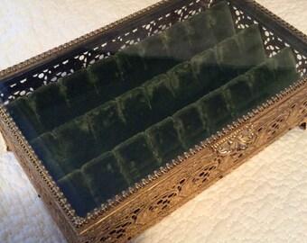 Large Vintage Gold Filigree JEWELRY CASKET Box Ormolu Beveled Glass Footed