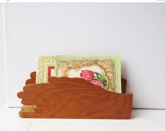 ON SALE Vintage Handmade Mail Holder - Hand Shaped