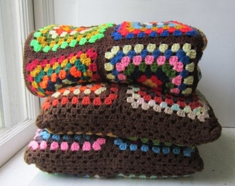 ON SALE Vintage Afghan Throw Blanket and Two Throw Pillows - Brown Multicolor Granny Squares Afghan & Pillow Set - 1970's Boho Home Decor